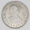 Colombia: , Colombia: Ferdinand VII Real 1810P-JF, KM68.2, VF-XF with bolddetails including full PLUS ULTRA, lightly cleaned long ago and nowver...