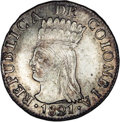 Colombia: , Colombia: Cundinamarca - Republica de Colombia 2 Reales 1821Ba-JF,KM-C5, MS64 NGC, lightly toned over fully brilliant surfaces, this...
