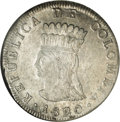 Colombia: , Colombia: Cundinamarca - Republica de Colombia 8 Reales 1820-JF, KM-C6, MS61 NGC, a fully original coin with abundant mint luster and ...