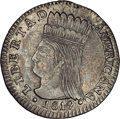 Colombia: , Colombia: Nueva Granada Real 1819-JF, KM75, AU53 NGC, lightly tonedand nicely detailed with no distracting planchet imperfections.Ex...