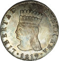Colombia: , Colombia: Nueva Granada 8 Reales 1819-JF, KM78, MS62 NGC, amagnificent example with fully defined details on the Indian andpomegrana...