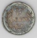 Colombia: , Colombia: Republic - Pair of Popayan Reals, KM87.2, 1831-RU, toned AU, attractive steel blue and gray patina, some minor flaws but ver... (Total: 2 coins Item)