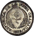 Colombia: , Colombia: Nueva Granada Real 1838-RS Bogota, KM91.1, MS66 NGC,light gray and gold toning over full mint brilliance. A superb coinwit...