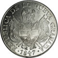 Colombia: , Colombia: Nueva Granada 10 Reales 1847, KM107, MS61 NGC, a choiceexample with full frosty white mint luster and excellent eyeappeal....