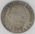 Colombia: , Colombia: Republic 2 Decimos - Two Types, KM155.1, 1872 Bogota,toned VG, and KM160, 1874 Medellin, two stars, choice VF....(Total: 2 coins Item)