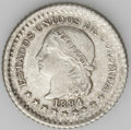 Colombia: , Colombia: Republic 5 Centavos 1884 Bogota, KM174a.1, choice tonedAU-UNC, scarce and underrated date, rare condition....
