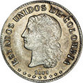 Colombia: , Colombia: Republic 10 Centavos 1885 Medellin, KM175.2a, MS61 NGC, lightly toned and very attractive, 500 over 835 fineness, bold repun...