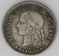 Colombia: , Colombia: Republic 20 Centavos 1875 Medellin, KM178.2, nice toned VF, repunched 5 in the date, tiny B in the O of Estados. Very scarce...