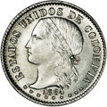 Colombia: , Colombia: Republic 20 Centavos 1884 Bogota, KM176.3, MS62 NGC, fullwhite mint luster and a superior strike for this rare one-yeartyp...