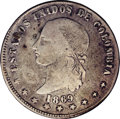 Colombia: , Colombia: Republic 5 Decimos 1869 Popayan, KM153.6, Fine 12 NGC,lightly toned and quite well-struck for this early Popayan coinage.E...
