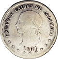 Colombia: , Colombia: Republic 5 Decimos 1871 Popayan, KM153.6, very nice Fine,evenly worn with strong details throughout. The 7 in the dateappe...