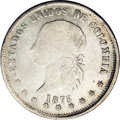 Colombia: , Colombia: Republic 5 Decimos 1873 Popayan, KM153.6, clearly 835 over 900 fineness, VF-XF, lightly cleaned, the 73 of the date is not a...