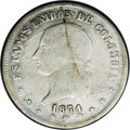Colombia: , Colombia: Republic 5 Decimos 1874 Popayan, KM153.6, Fine 15 NGC, 835 over 900 fineness, a pleasant evenly worn example of this very ra...