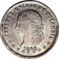 Colombia: , Colombia: Republic 5 Decimos 1869 Medellin, KM153.2, AU55 NGC,boldly struck design details and considerable original mint lustermake...