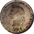 Colombia: , Colombia: Republic 5 Decimos 1876 Medellin, KM153.5, AU58 NGC,lightly toned with extremely sharp details, rare grade. BC22....