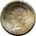 Colombia: , Colombia: Republic 5 Decimos 1881 Medellin, KM161.1, MS63 NGC,lightly toned with absolutey no wear evident, small edge flaw at 4o'cl...