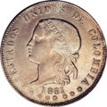 """Colombia: , Colombia: Republic 5 Decimos 1881 Medellin, KM161.3, """"square""""Libertad bust, AU58 NGC, lightly toned with problem-free surfaces.Very ..."""