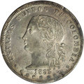 """Colombia: , Colombia: Republic 5 Decimos 1883 Medellin, KM161.2, XF45 NGC,deeply toned and quite attractive, rare """"different effigy"""" type,only t..."""