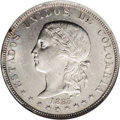 Colombia: , Colombia: Republic 5 Decimos 1885 Medellin, KM161.1, MS63 NGC, a choice lustrous example with unusually blemish-free surfaces. BC34....