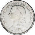 Colombia: , Colombia: Republic 5 Decimos 1886 Medellin, KM164.1, AU, virtuallyno circulation wear evident, lightly cleaned but with unusuallybol...