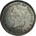 Colombia: , Colombia: Republic 5 Decimos 1869 Bogota, KM153.1, MS64 NGC, lovelypewter gray and gold patina over lustrous fields andexceptionally...