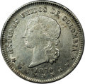 Colombia: , Colombia: Republic 5 Decimos 1870 Bogota, KM153.1, AU58 NGC,lightly toned with abundant mint luster and strong details, scarcegrade....