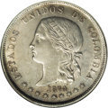 Colombia: , Colombia: Republic 50 Centavos 1874 Bogota, KM177.1, AU58 NGC, very nicely struck with abundant mint luster. BC41....