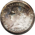 Colombia: , Colombia: Republic 50 Centavos 1880 Bogota, KM177.1, AU55 NGC,repunched date, multicolored toning over lightly cleaned surfaces.BC47...