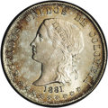 Colombia: , Colombia: Republic 50 Centavos 1881 Bogota, KM177.1, MS62 NGC, a pretty coin with very attractive gold and orange patina. BC48....