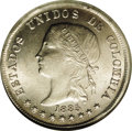 Colombia: , Colombia: Republic 50 Centavos 1885 Bogota, KM177a.1, MS63 NGC, achoice coin with full mint brilliance and strong design details.Fir...
