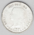 Colombia: , Colombia: Republic 50 Centavos 1886 Bogota 8/7 Overdate, KM177a.1,VG, harshly cleaned long ago and a few noticeable rim bumps, butan...