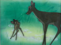 Animation Art:Production Cel, Bambi Bambi and Mother Production Cel Courvoisier Setup(Walt Disney, 1938)....