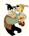 Animation Art:Production Cel, Pinocchio Geppetto, Figaro, and Pinocchio Production Cel(Walt Disney, 1940)....