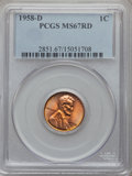 Lincoln Cents: , 1958-D 1C MS67 Red PCGS. PCGS Population (106/0). NGC Census:(218/0). Mintage: 800,953,280. Numismedia Wsl. Price for prob...