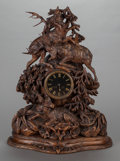 Decorative Arts, Continental:Other , A BLACK FOREST CARVED WOOD MANTLE CLOCK, 20th century. Marks: A.Fo, 1480. 28 x 21-3/4 x 10-1/4 inches (71.1 x 55.2 x 26...