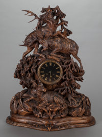 A BLACK FOREST CARVED WOOD MANTLE CLOCK, 20th century Marks: A. Fo, 1480 28 x 21-3/4 x 10-1/4 inches
