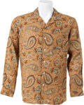 Music Memorabilia:Costumes, Elvis Presley Owned and Worn Paisley and Floral Design Shirt (1970s)....