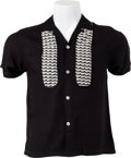 Music Memorabilia:Costumes, Elvis Presley Owned and Worn Short-Sleeved Black and White Casual Shirt (1960s)....