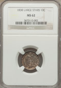 Seated Dimes: , 1838 10C No Drapery, Large Stars MS62 NGC. NGC Census: (37/209). PCGS Population (26/174). Mintage: 1,992,500. Numismedia W...