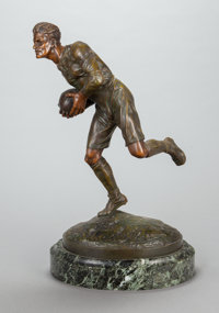 EDOUARD DROUOT (French, 1859-1945) Rugby Player Bronze with reddish-brown patina 24 inches (61.0