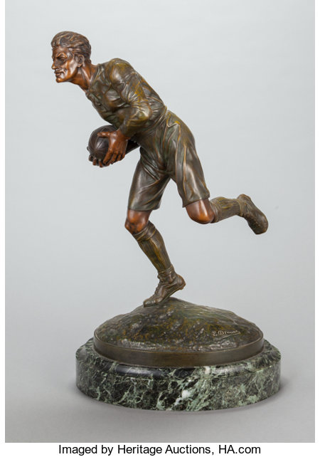 EDOUARD DROUOT (French, 1859-1945) Rugby Player Bronze with reddish-brown patina 24 inches (61.0 cm) high Inscribed ...