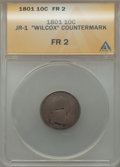 "Early Dimes, 1801 10C -- ""Wilcox"" Countermark -- Fair 2 ANACS. JR-1. NGC Census:(4/28). PCGS Population (2/58). Mintage: 34,640. Numism..."