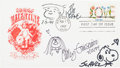 "Original Comic Art:Sketches, Charles Schulz, Bil Keane, and Cathy Guisewite Sketched ""First Day""Envelope Original Art (1994)...."