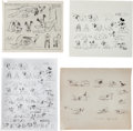 animation art:Model Sheet, Pluto Animation Art Model Sheet Print Group (Walt Disney, c. 1930s).... (Total: 4 Items)