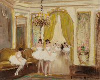 JULES RENÉ HERVÉ (French, 1887-1981) Ballerinas in the Drawing Room (pair) Oil on canvas 8-5/8 x