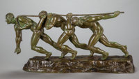 MAURICE GUIRAUD-RIVIERE (French, 1881-1947) Allegory of Strength, circa 1930 Bronze with greenish-br