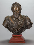 Bronze:European, A PATINATED BRONZE KING HENRY IV BUST ON A ROUGE MARBLE BASE, 20thcentury. 32 x 24 x 11 inches (81.3 x 61.0 x 27.9 cm). ...