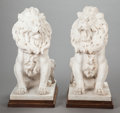 Decorative Arts, Continental:Other , A PAIR OF ITALIAN CARVED MARBLE FIGURES ON WOOD BASES, 20thcentury. 23 x 10-3/4 x 17-1/2 inches (58.4 x 27.3 x 44.5 cm) (ov...(Total: 2 Items)