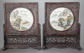 Asian:Chinese, A PAIR OF CHINESE PAINTED PORCELAIN TABLE SCREENS IN CARVED WOODFRAMES AND STANDS. Marks: (chop marks). 30-1/4 x 24 x 8-1/2...(Total: 2 Items)