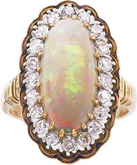 OPAL, DIAMOND, ENAMEL, GOLD RING